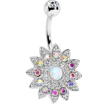 White Faux Opal Aurora Gem Steel Fancy Sparkle Flower Belly Ring