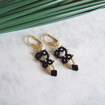 Black Gold Beaded Lace Tatted Lever Back Earrings - Lillian - Mini