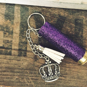 12 Gauge Purple Glitter Shotgun Shell Keychain with Crown and White Leather Charm