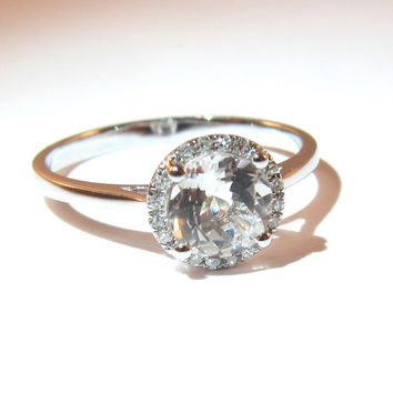 14k White Gold White Topaz Gemstone Ring with Diamond Halo