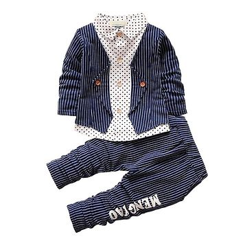 New Spring Baby Boy Clothing Set Toddler Boys 2 PCs Clothes Suit Baby Infant Tracksuit set Kids Gentleman Stripe Outfits