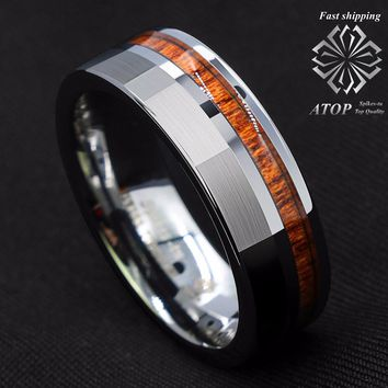 8mm Silver Brushed Tungsten Carbide Ring Off Center Koa Wood Wedding Band Ring