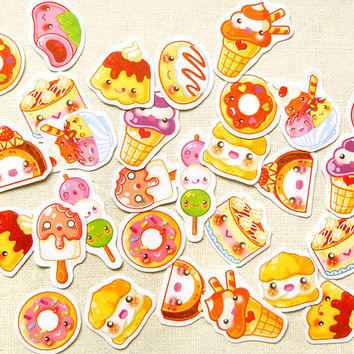 Cute Desserts Planner Stickers- Kawaii Life Planning Sticker Pack of 30: Cake Stickers, Food Baking Sticker, Sweets Sticker, Cupcake Sticker