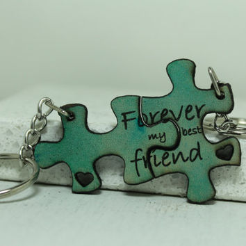 Friendship Puzzle piece key chains Forever my best friend quote Blue Leather 2017