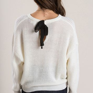 Debbie Ivory Tie Back Sweater