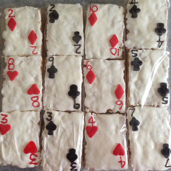 12 Playing Card Rice Crispy Krispie Treats Alice in Wonderland Sweets Dessert Table Gambling Vegas Party Favors