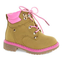 Broadway11KA Camel Infant Toddler Ankle Bootie, Pink Trim & Padded Collar, Lace Up