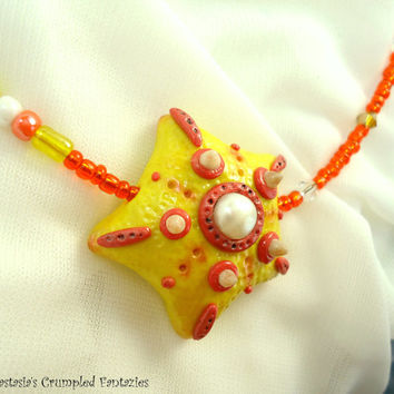 Sea bottom creatures, Orange yellow starfish, Polymer clay necklace, Underwater pendant, Natural freshwater pearls glass faceted beads