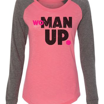 "Womens ""Woman Up."" Long Sleeve Elbow Patch Contrast Shirt"