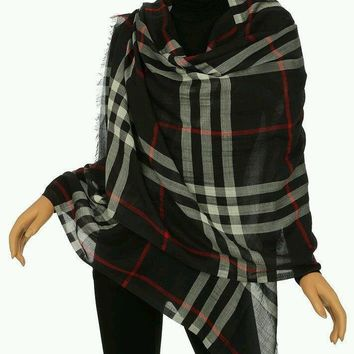 BURBERRY LUXURY WOOL SILK GIANT CHECK GAUZE SCARF WRAP SHAWL 140*140 cm