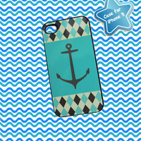 iPhone 5 Case Anchor Blue and Gray Diamonds Ships from USA