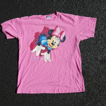 Vtg Minnie Mouse 2 sided 3D Disney Dreams Florida Tee shirt sz LG Mickey Cartoons Disneyland Disneyworld