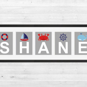 Personalized Nursery Letters, Custom Decor Prints, Nautical Gray Blue and Red Letters, Boy Name Prints, Custom Name Art, Nursery Decor, 8x10