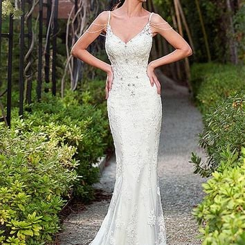 [219.99] Chic Tulle Spaghetti Straps Neckline Mermaid Wedding Dresses with Beaded Lace Appliques - dressilyme.com