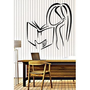 Wall Vinyl Decal Girl Reading a Book Bookstore Library Decor Unique Gift z4686