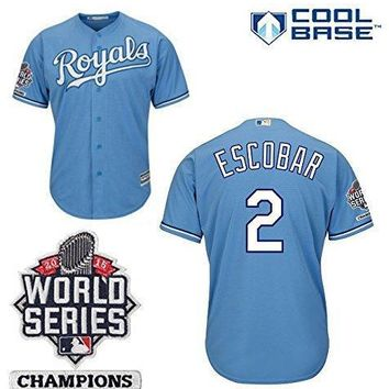 Alcides Escobar Kansas City Royals #2 Mlb Men's Cool Base 2015 World Series Champions Patch Alternate Jersey (large)