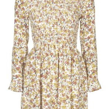 Floral Shirred Dress - Mustard