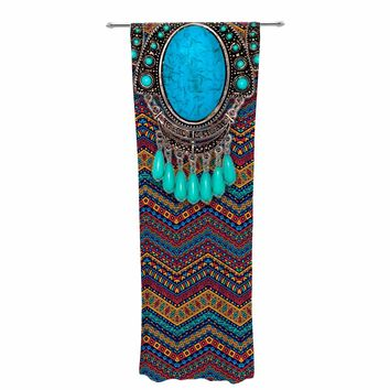 "Shirlei Patricia Muniz ""Chevron With Turquoise Necklac"" Green Red Digital Decorative Sheer Curtain"