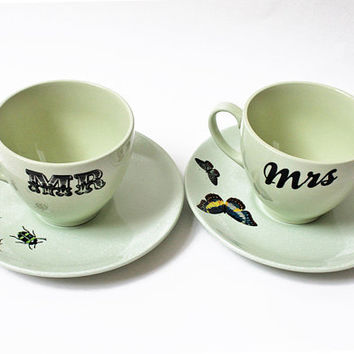 Mr & Mrs vintage teacups by yvonneellen on Etsy
