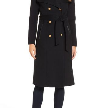 Mackage Double Breasted Wool Blend Long Military Coat | Nordstrom