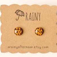 Leopard Print Post Earrings