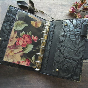planner binder, black rose, locked diary, rose planner, refillable journal, rose journal, for filofax pocket refills, handstitched, daytimer