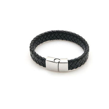 Black Braided Leather Bracelet - Sliding Silver Clasp - Unisex Leather Bracelet