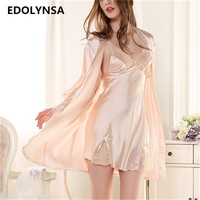 New Brand Two Piece Nightgown Robe Set Silk Sleep Lounge With Lace Robe Women Sleepwear Robe Bathrobe Nightdress Multicolor #P99