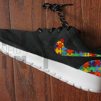 Nike Roshe Run Black Autism Awareness Puzzle Pieces