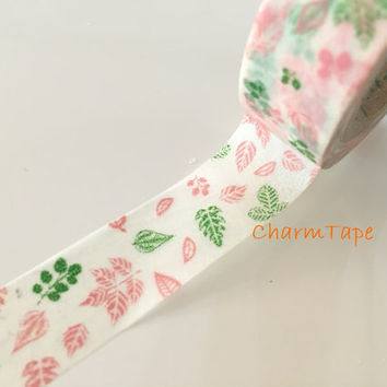 Washi tape 15mm - Green & Pink Leaves 10 meters  WT757