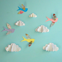 Birds and Clouds  3D Paper Wall Art/ Wall by goshandgolly on Etsy