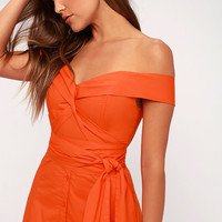 Brittany Orange Off-the-Shoulder Midi Dress