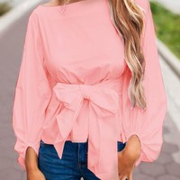 Pink Bow Boat Neck Long Sleeve Fashion Blouse