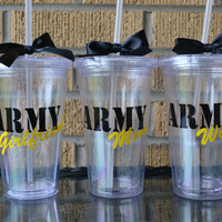 1 - Army Wife Mom Girlfriend Tumbler Cup - Personalized