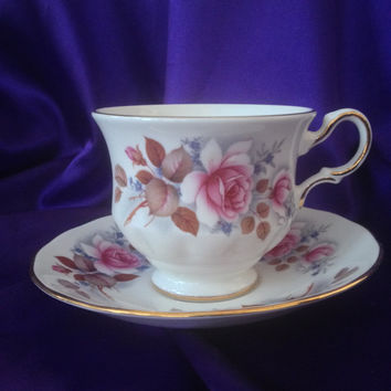 Vintage Queen Anne England Bone China Teacup and Saucer Set Pink Rose Floral, Blue Forget-Me-Nots, A 57 6 Pat no 8521