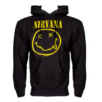Nirvana Smiley hoodie, grunge hood jumper, Nirvana band merchandise UK