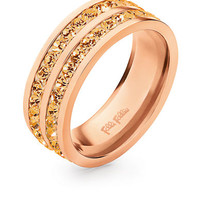 Folli Follie Rose Gold-Plated Ring with Champagne Crystal Stones