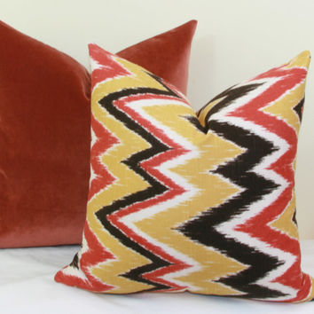 "Orange and yellow chevron decorative throw pillow cover. 18"" x 18"". 20"" x 20"".22"" x 22"". 24"" x 24"".26"" x 26"". lumbar sizes"