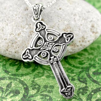 Small Celtic Cross Necklace with Knots