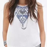 White Tribal Print Button Back Tank
