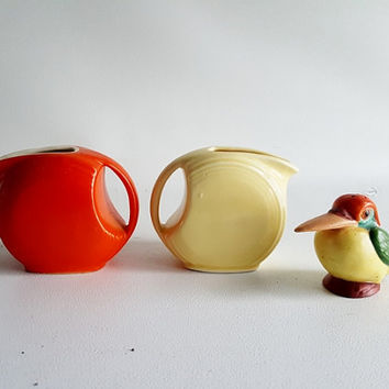 Vintage Stoneware Pitchers Small  Serving Pitchers Orange Yellow Pitchers Handled Pitchers Fiestaware Syrup Pitchers Vintage Creamers