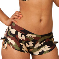 Cheeky Tie Side Camo Print Shorts- Sassy Assy