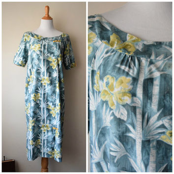 60s Maui No-Ka-Oi Traditional Hawaiian MuuMuu Dress // Watercolor Blue Bamboo Palm & Gold Hibiscus Flowers // Tropical Polynesian Tiki Oasis