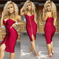 Spaghetti Strap Zip-Up Bodycon Front Slit Midi Dress