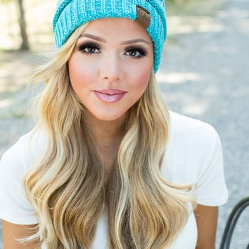 Slouchy Knit Beanie Teal/Blue