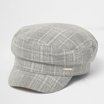 Grey herringbone check baker boy hat - Hats - Accessories - women
