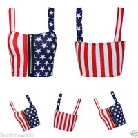 WOMENS LADIES CROP AMERICAN FLAG ANIMAL ZEBRA COMIC PRINT PADDED ZIP BRALET TOPS