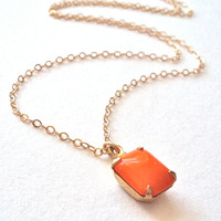 Vintage Orange Pendant gold necklace - gold filled chain - bright orange