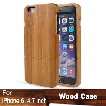 "Natural Bamboo Wood Case For iPhone 6 6G Air 4.7"" Funda Accessories Hard Back Cover Shell Protector For iphone6 6G Pouch Housing"
