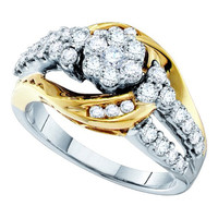 Round Diamond Ladies Fashion Bridal Flower Ring in 14k White Gold 1.01 ctw